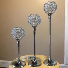 Jual May Zz Pesta Pernikahan Centerpieces Clear Crystal Beads Silver Candleholders Sangat Baik S Ukuran Intl Tiongkok Murah