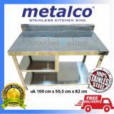 Jual Meja Dapur Kompor Stainless Steel 1 Rak Serbaguna Metalco Branded Original