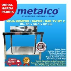 Meja Dapur / Kompor Stainless Steel 2 Rak Serbaguna Metalco MT2