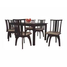 Meja makan kayu minimalis + kursi putar 4 person