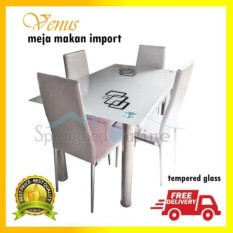 Meja makan Venus 4 seater kaca tempered impor - Tempered glass Import