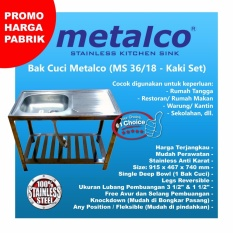 Meja Wasbak/ Wastafel/ Bak Cuci Piring Metalco MS 36 / 18 Set Portable Knock Down Stainless Anti Karat