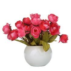 Harga Mengyanni Simulasi Sutra Bunga Camellia Umbi Bunga Buatan Set Dengan Round Vas Anggur Merah Murah