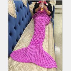 Mermaid Rajut Selimut And Selimut Ekor Putri Duyung For Orang Dewasa, All Seasons Super Lembut Tebal Selimut Tidur (180,34 Cm X 90,17 Cm, Sisik Berwarna Merah Muda) -Internasional