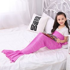 "Selimut Ekor Putri Duyung Bandung Photo: ""-anak Buatan Tangan Rajutan Mermaid Sofa Melempar Hadiah Natal Perfect Way 140,16 CM X 70 Cm (anak-ungu Berwarna Merah Muda) -Internasional"