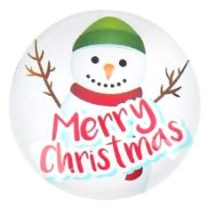 Merry Christmas Snowman Kulkas Magnet Dekorasi Rumah Kaca Cabochon Sticker (Putih)-Intl