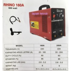 Mesin Las Black Rhino MMA 160 Travo Las Inverter