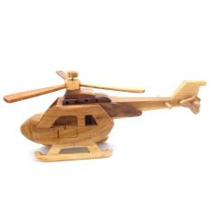 MidleUp Kerajinan Kayu Miniatur Helikopter Kayu 27x12x17 cm - Coklat