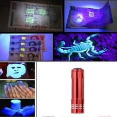 Mini Aluminium UV Ultra Violet 9 LED Senter Blacklight Obor Lampu Lampu-Intl