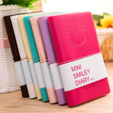 Mini Smiley Diary Notebook Memo Book Leather Note Pads Stationerypocketbook Random Color - intl