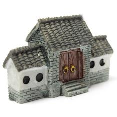 Miniatur Villa House Dollhouse Pot Tanaman Bunga Kerajinan DIY Ornamen Bonsai Dekorasi Gerbang Kota Kuno China Abu-abu (Intl)