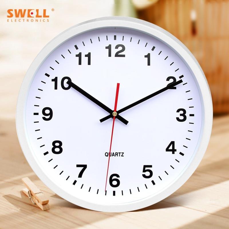 Dinding Minimalis Jam Kantor Silent QUARTZ Jam Meja Ruang Tamu Kamar Tidur Silent Electric Jam Lingkaran Kreatif Jam 30 Cm, 12-inch Putih-Intl