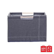 Spesifikasi Miniso Official Denim Storage Box With Wooden Handle Dark Blue 03E5 7211Mn Terbaru