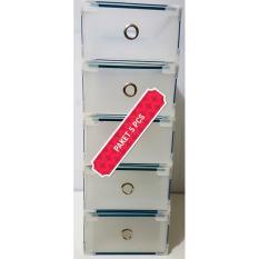 Miracle 5 pcs Kotak Sepatu Slide Clear dengan Metal List, Ring dan Sudut Plastik - Size L