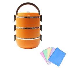 Harga Misson Eco Lunch Box Stainless Steel Rantang 3 Susun Orange Bundling Lap Plas Chamois Yang Bagus