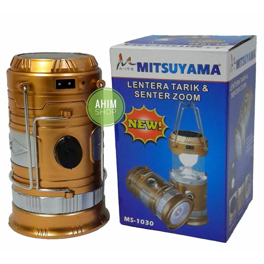 Jual Mitsuyama New Ms 1030 Lentera Tarik Senter Zoom Tenaga Surya Usb Output Gold Import