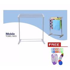 Mobile Towel Rack - Rak Jemuran Handuk Serbaguna + Free Keranjang Baju Kotor
