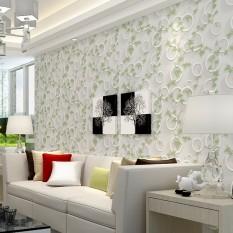Modern 3D Minimalis Wallpaper Ruang Tamu Kamar Tidur TV Backdrop Blanket Wallpaper Hijau Daun Striped Lingkaran-Intl