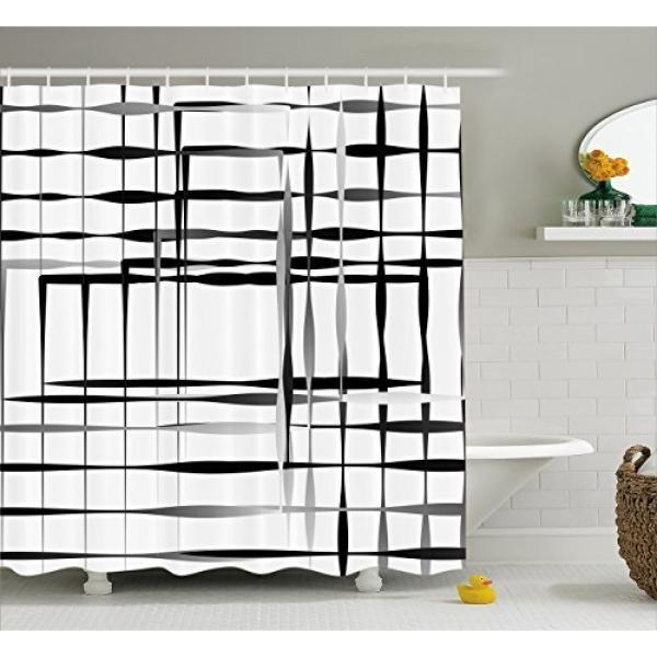 Modern Art Home Decor Shower Curtain Oleh Ambesonne, Minimalis Gambar dengan Sederhana Ruang dan Spare Asimetris Grid, Dekorasi Kamar Mandi Set dengan Kait, 70 Inches, HITAM PUTIH-Intl