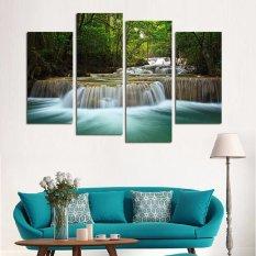 Modern Dekoratif Gambar 4 Panel Waterfall Lukisan Dinding Kanvas Seni Gambar Rumah Dekorasi Ruang Tamu Kanvas Cetak Lukisan