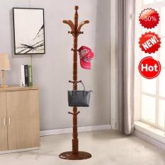 Iklan Modern High End Solid Wood Round Base 19 Hooks Coat Hanger Hat Rack Intl
