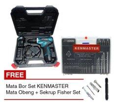 MODERN Mesin Bor Baterai M-12v + Mata Bor Set KENMASTER + Mata Obeng + Sekrup