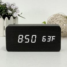 Modern Kayu Jam Alarm Digital Led Putih Termometer Usb Aaa Kontrol Suara Terbaru