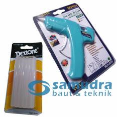 Jual Cepat Mollar Glue Gun 20 Watt Biru Dextone 1 Pak Refill Stick Lem Tembak