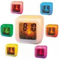 Spesifikasi Moody Digital Clock Weker Unik Berubah Warna Kubus Putih Bagus