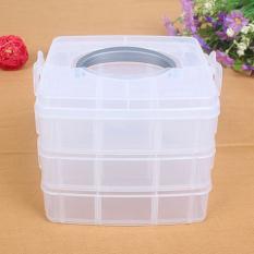 Rumah Tinggal 3 Lapisan Penyusun Plastik Dilepas Desktop Kotak Penyimpanan Barang-barang Perhiasan Kecil Case Moonar (putih) - Internasional