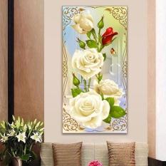 Mosaik Putih Mawar Diy 5D Berlian Lukisan Bordir Silang Stitch Perlengkapan Kerajinan Dekorasi