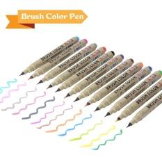 MStore 12 Warna Bru Pens Set Gambar Lukisan Watercoloreffect Pen Air Mewarnai Bru Lembut Fleksibel Tips untuk Coloringbooks Manga Comic Kaligrafi Ac789-Intl