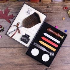 MStore 1 Set Harry Potter dan Terkutuk Hogwar Sekolah Mewah Featherquill Pen Set dengan Tinta Bawah untuk Penggemar DIP Pen Tanda Tangan Set + HP Sealing Wax Set-Intl