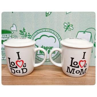 Besar tabungan kejutan KOPIN - Mug Couple + Tutup I Love Dad / I Love Mom - Dapur Ny Bun Alat Dapur > Alat Minum > Mug, Cangkir & Wadah