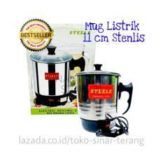 SinarTerang - Mug Listrik 11 cm Stenlis Teko Elektrik Pemanas Air Kopi Teh Water Heater 11cm Bagus Grosir Murah