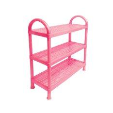Rak Sepatu 3 Susun Plastik - Pink