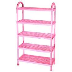 Rak Sepatu 5 Susun Plastik - Pink