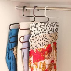 Multi-fungsi Cloth Hanger Multilayer Pants Folder Non-slip S Gaya Rak Celana Warna Acak-INTL (netral)