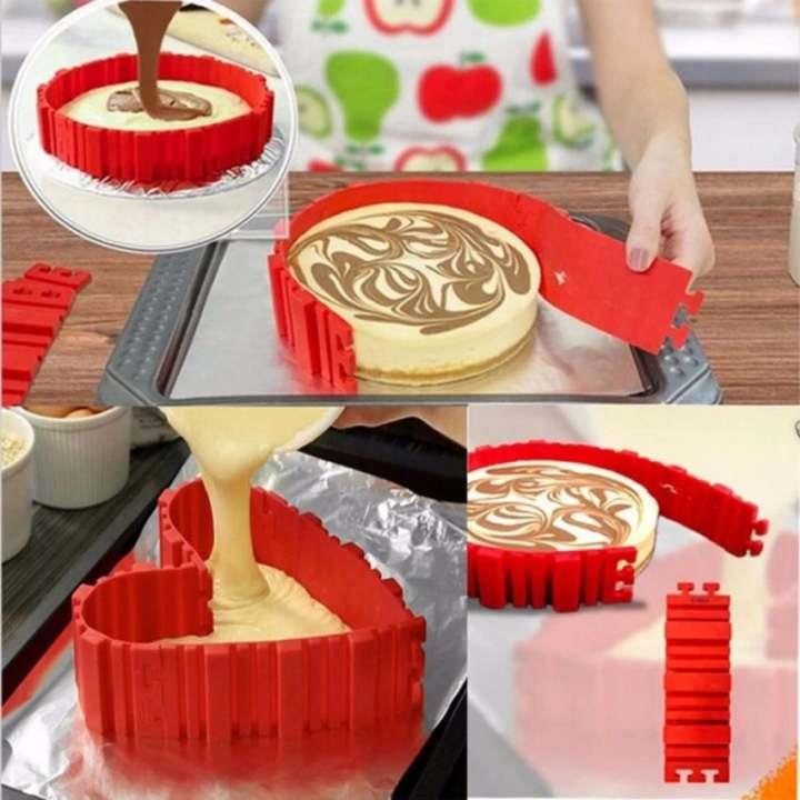 harga Multi silikon kue cetakan alat 4pcs/lot panggang DIY Puzzle Baking kue cetakan - merah Lazada.co.id