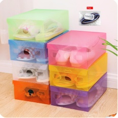 Multicolour Transparent Shoe Box / Kotak Sepatu Transparan Warna-Warni - 10 Pcs + Free Ikat Rambut Polkadope - 1 Pcs
