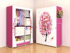 Murah Meriah 03 TREE Multifunction Wardrobe  Cloth Rack with cover lemari pakaian