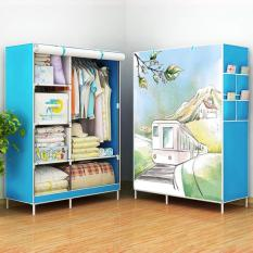 Murah Meriah 07 TRAIN Multifunction Wardrobe With Cover Lemari Pakaian Rak Pakaian