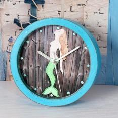 Mute QUARTZ Jam Alarm, Retro Mermaid Round Jam Kayu, Kecil Silent Desk Waktu Jam Rumah Kantor Dekorasi Warna: Biru-Intl