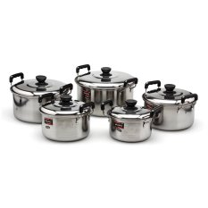 Review Nagako Cookware Set Panci Dutch Oven Stainless Steel 5 Buah Silver Sulawesi Selatan