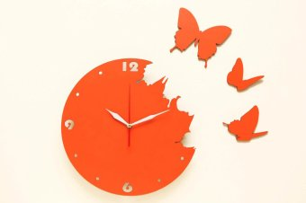 Nail Your Art Jam Dinding Unik Artistik - Butterfly Orange - Artistic  Unique Wall Clock c25745c0e9