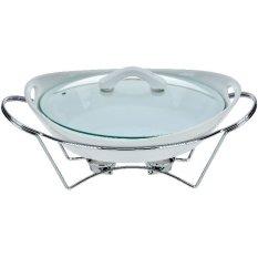 Nakami Kaserol Oval Dengan Pemanas Putih Murah