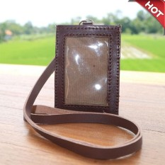 Promo Name Tag Id Card Holder Kalung Nama Bahan Dari Kulit Sapi Nabati Coffe Brown Firdaus Fashion Terbaru