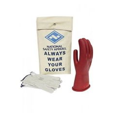 National Safety Apparel Class 0 Red Rubber Voltage Insulating Glove Kit with Leather Protectors, Max. Use Voltage 1,000V AC/ 1,500V DC