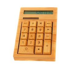 Alami Buatan Tangan Dibuat Bambu Kalkulator Tenaga Surya 12 Digitsdisplay-Internasional