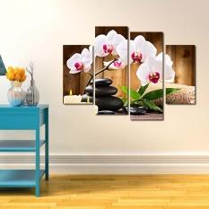 NBJU_New Flowers Wall Art Painting Unframed 4 Pieces Kanvas Cetak Poster Gambar untuk Ruang Tamu Dekorasi Rumah Hadiah Populer 11035 -Intl